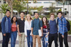 Group of teens at school